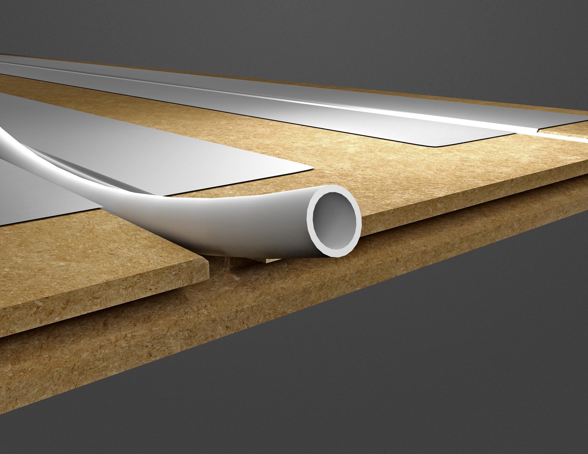 KoskiTherm uritettu ja pontattu helposti ja nopeasti asennettava lattialämmityslevy.