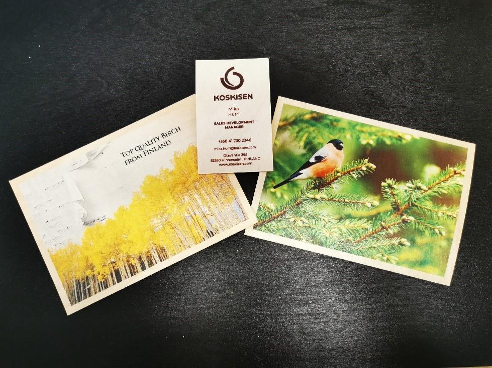Ohutvanerinen painettu kortti ja käyntikortti